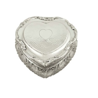 Antique Edwardian Sterling Silver & Cut Glass Heart Trinket Box 1906
