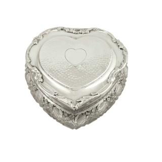 Antique Edwardian Sterling Silver & Cut Glass Heart Trinket Box 1906