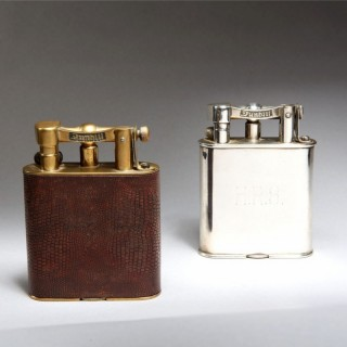 TWO DUNHILL GIANT LIGHTERS – SILVER PLATE – LIZARD SKIN WRAP