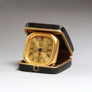 SWISS GOLD DUNHILL LEATHER TRAVELLING CLOCK