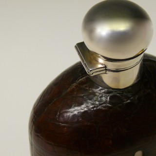 Very Large Crocodile Skin and Silver Hip Flask of Decanter size