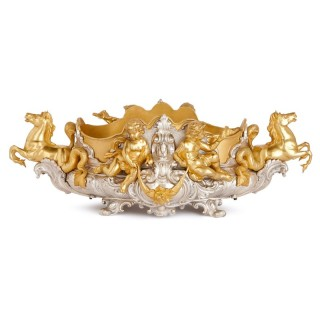 Rococo style silvered bronze centrepiece with ormolu mounts