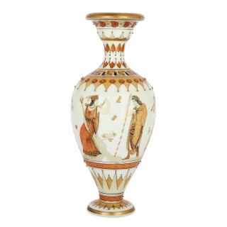 Parcel gilt and painted opaque glass amphora vase, attributed to Woodall