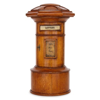 Small-scale oak Royal Mail pillar letter box