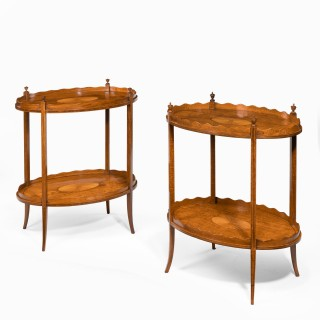 pair of late Victorian satinwood tray tables