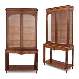 Pair of parquetry mahogany display cabinets with gilt bronze mounts