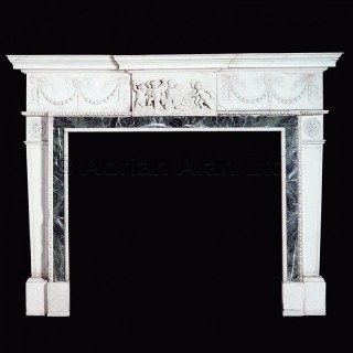 An Important George III Style Carved White Marble Fireplace
