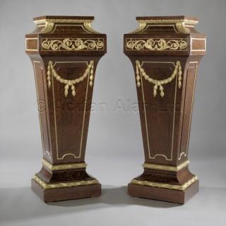 A Pair of  Louis XVI Style Mahogany Pedestals