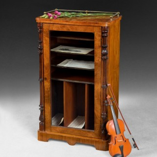 Mid 19th. century Burr Walnut Music or Folio Cabinet