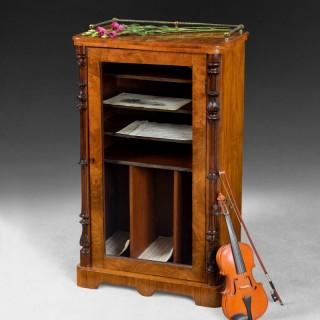 Mid 19th. century Burr Walnut Music or Folio Cabinet