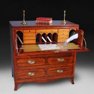 inlaid Sheraton Period Mahogany Secretaire Chest of Drawers
