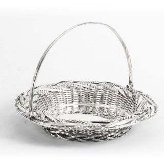 Antique Victorian Sterling Silver Fruit Bread Basket London 1858 19th C