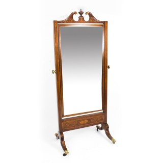 Antique Edwardian Mahogany Inlaid Cheval Mirror c.1900
