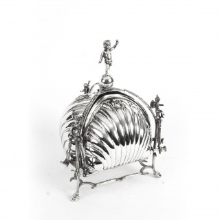 Antique Silver Plated Triple Shell Shaped Sweets Biscuit Box c.1900