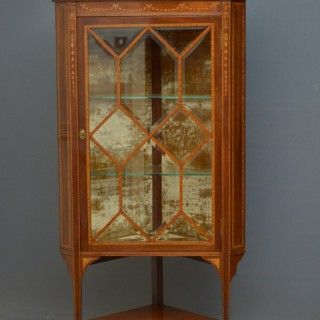Edwardian Mahogany and Inlaid Corner Display Cabinet