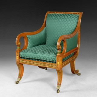 Regency Period Decorated and Gilt Simulated Satinwood Library Chair