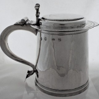 Super quality William and Mary silver lidded tankard London 1693 Alice Noyes