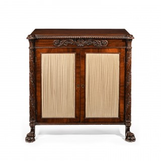 Fine Regency Irish Mahogany Two Door Side Cabinet / Chiffonier
