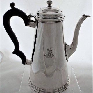 Very good quality crested George II silver coffee pot London 1733 Francis Pages