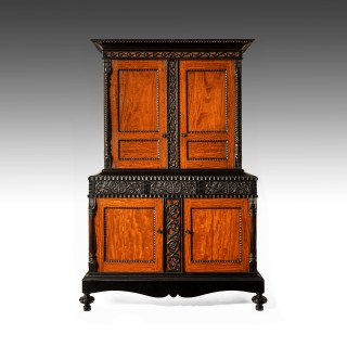 Early 19th C Ceylonese Indo-Dutch Satinwood and Ebony Cabinet