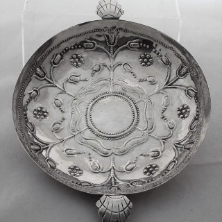 Rare large Commonwealth silver dish London 1659 by SA