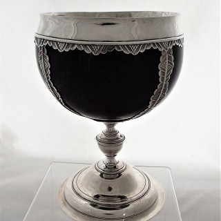 Superb large Scottish silver coconut cup C1720