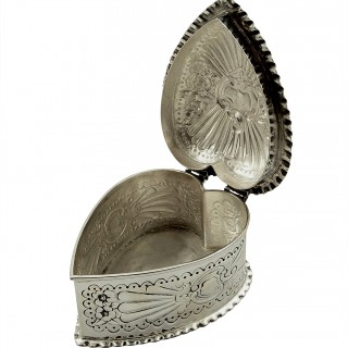 Antique Victorian Sterling Silver Heart Trinket Box 1893 - Mappin & Webb