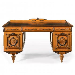 Fine 19th Century Viennese Satin Sycamore Writing Desk