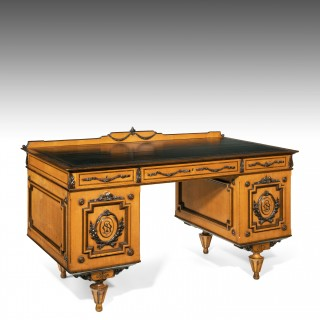 Fine 19th Century Viennese Satin Sycamore Writing Desk