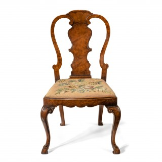 Quality 19th Century Walnut Side Chair With Original Needlework Seat