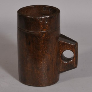 Antique Treen 19th Century Dated Beech Pint Measure