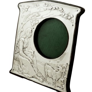 Antique Art Nouveau Sterling Silver 'Girl with Goat' Photo Frame 1905