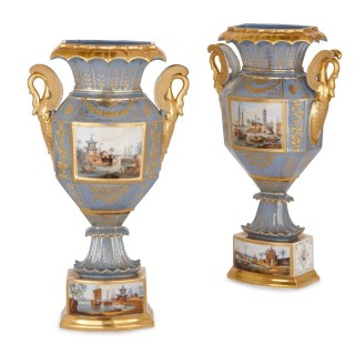 Two antique Chinoiserie style porcelain vases