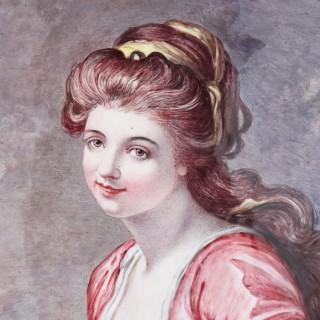 Antique Limoges enamel portrait of woman and lap dog