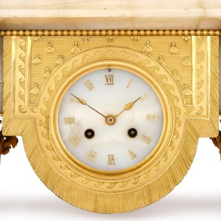 Napoleon III period onyx and gilt bronze clock set