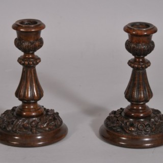 Antique Treen Pair of 19th Century Walnut Candlesticks