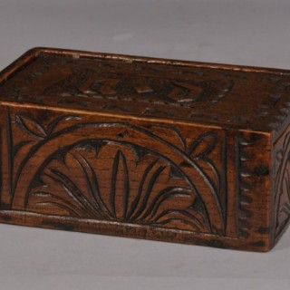 Antique Treen 19th Century Small Oak Box