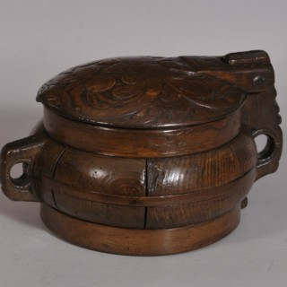 Antique Treen 19th Century Dated Icelandic Stained Pine Food Box