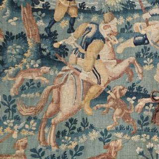 Hunting scene antique tapestry from Oudenaarde, Belgium