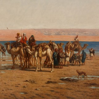 Large Orientalist painting of an Egyptian voyage by Berchère