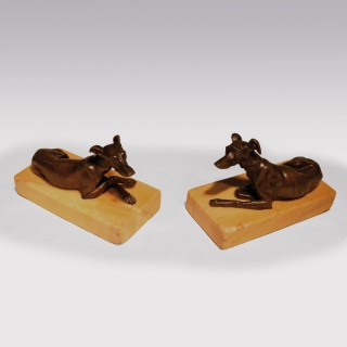Pair of 19th Century Bronze Greyhounds