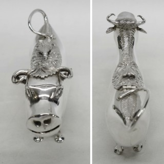 Antique Continental Silver Cow Creamer