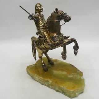 Antique Silver Model Horse and Rider
