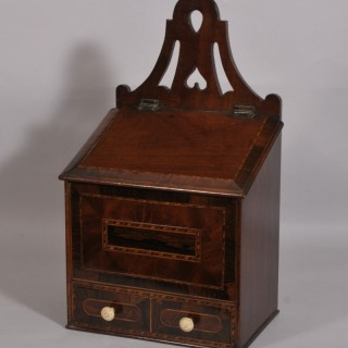 Antique Early 19th Century Mahogany Wall Mounted Candle Box