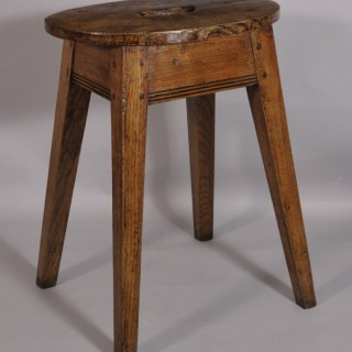 Antique Early 19th Century Elm Stool