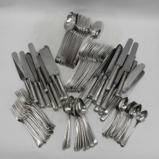 Canteen of Silver Featheredge Cutlery