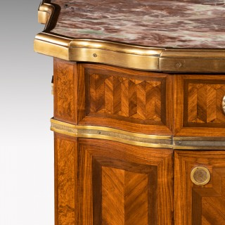 Gilt Bronze-Mounted Kingwood and Bois De Satine Side Cabinet by Maison Soubrier, Paris.