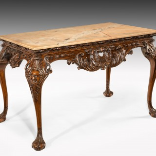 Gillows 19th Century Walnut Carved Centre Console Table With Marble Top