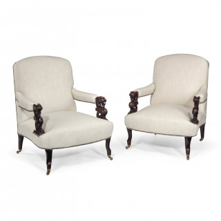 Unusual Pair of 19th Century French Dragons Head Linen Open Armchairs