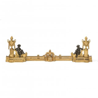 Fine Adjustable Fireplace Fender, Gilt Chenets and Bronze Putti's 19th Century